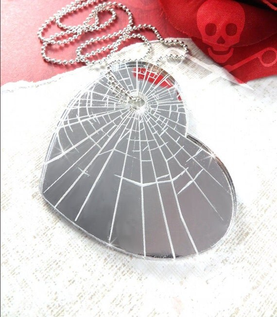 SHATTERED HEART - Silver Mirror Laser Cut Acrylic Etched Charm Necklace