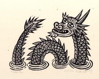 Art, Sea Dragon Linocut Art Print, fantasy, nautical wall decor, Print, Wall Art