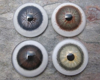 Hazel, Brown, Green, & Slate Blue Glass Eyes 12mm - One Pair, Your Choice of Color