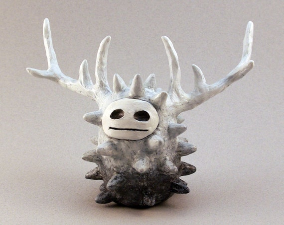 Clay Spirit Sculpture, Monster Figurine, White and Gray Forest Spirit Art Object with Antlers