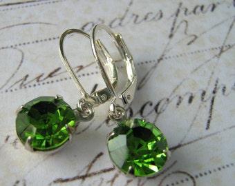 Estate Earrings, Green Fern Swarovski Rhinestone, Green Stone Earrings, Swarovski Earrings, Silver Lever Back Earrings