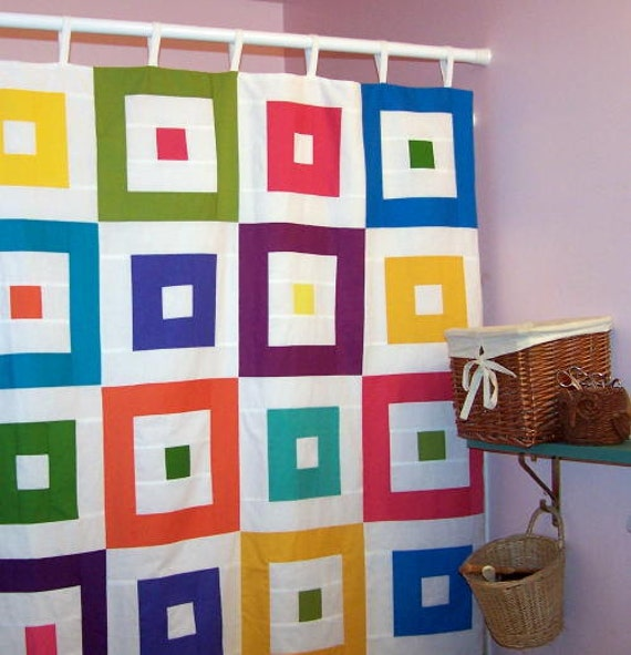 Bright patchwork shower curtain solid color squares