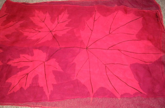 Vintage VERA Raspberry and Pink Maple Leaf Sheer Scarf