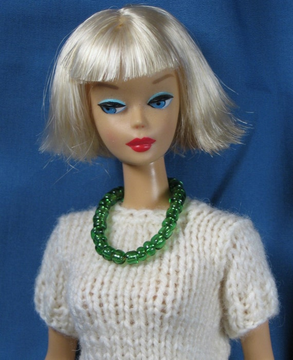 Barbie Clothes - White Sweater and Green Print Skirt Set