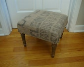 upcycled footstool with burlap coffee sack top