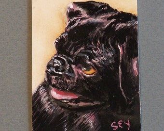 "Original ACEO Watercolor Painting - Animals - Dogs - Black Pug - 2 1/2"" x 3 1/2"" - Artist Trading Cards - Art Cards - Fine Art"