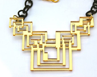 Geometric Necklace Gold Mirrored Acrylic Tron Inspired Laser Cut with Black Fabric Link Chain Laser Cut Necklaces we.