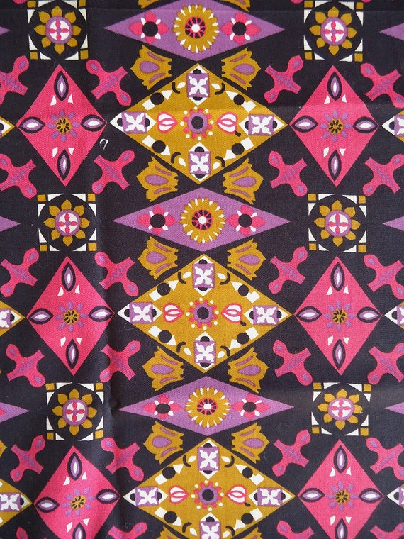 RESERVED FOR RETRO-03 vintage fabric - 60s mod bold graphic cotton fabric
