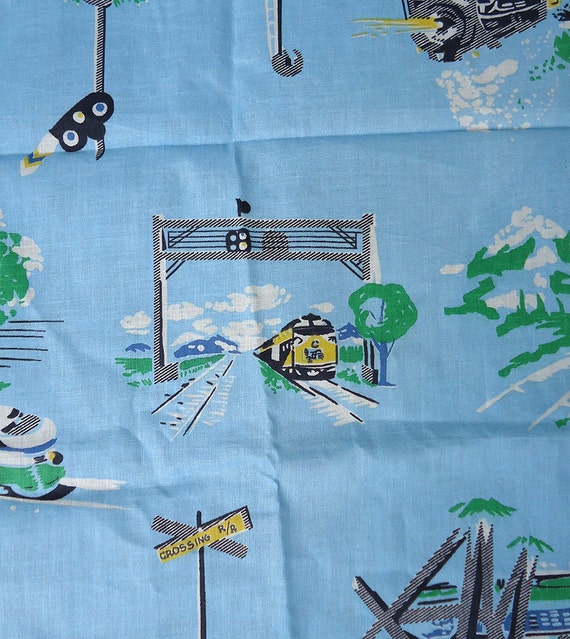 Vintage train fabric 50s 60s novelty print by shopatmoxie for Train themed fabric