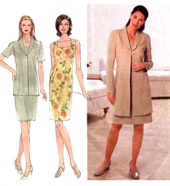 Sleeveless Dress & Jacket Pattern - Simplicity 9123 - Square Neckline - Scalloped Collar - Plus Size 16-18-20-22 - Uncut
