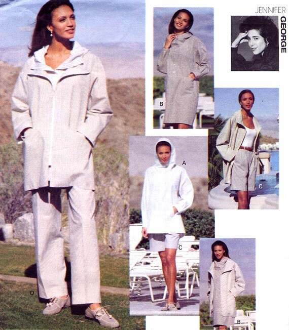 Designer Coordinates Pattern - Vogue 1169 - Jennifer George - Hooded Jacket / A-Line Dress / Top / Shorts / Pants - Size 12-14-16