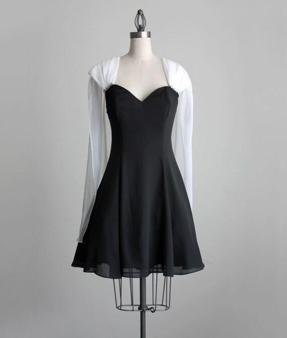 BLACK PARTY DRESS 1980s Vintage Black And White Chiffon Voile Cape Mini Party Dress