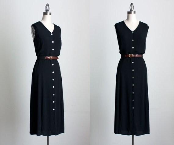 BLACK MAXI DRESS 1990s Vintage Black Button Down Grunge Multi Slit Maxi Dress