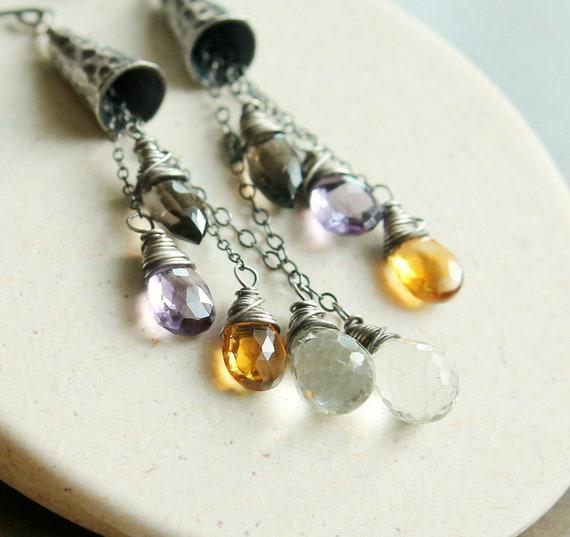 Gemstone Earrings -  Oxidized Silver - Sterling Silver -  Multi Gemstones -    Wire Jewelry -  Handmade Earrings