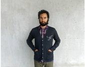 Men's cardigan / unisex sweater - custom monogram - hand-printed initial on heather black jersey blend cardigans - for him / for men