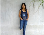 Womens tank top - spring fashion - geometric peacock feather print on navy blue oversized viscose tanks - TAIL FEATHER