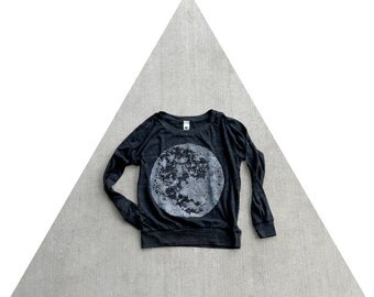 Womens pullover - long sleeved slouchy raglan - full moon print on lightweight heather black shirt - for her / for women - spring fashion