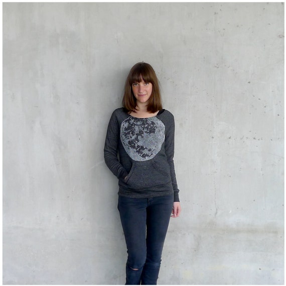 Womens sweatshirt - gift for her - S-XL - full moon print on Alternative Apparel heather black eco-fleece - winter fashion