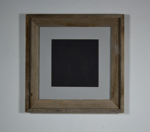 Reclaimed  weathered barn wood frame 12x12  dawn gray mat  for 8x8 pictures or prints