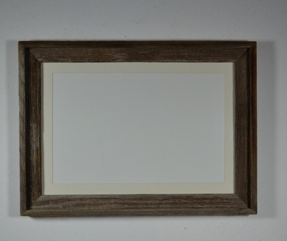 Upcycled  barn wood poster frame 13x19 with white mat for 11x17