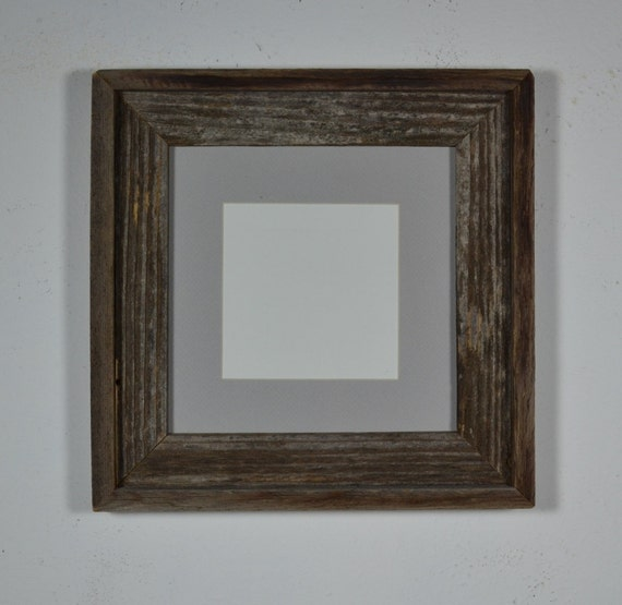 Upcycled barn wood  picture frame 8x8 dawn gray 5x5 mat dark gray patina
