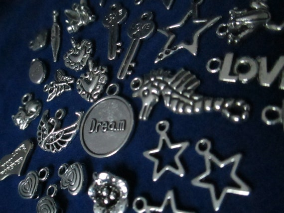 30 VARIOUS Charms -silver, several kinds- for jewelry making