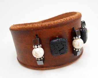 Beaded Leather Cuff Bracelet, Leather Jewelry