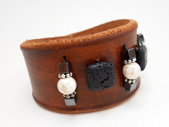 Beaded Leather Cuff Bracelet, Leather Jewelry