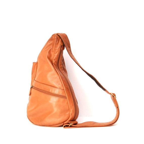 TRIANGLE tan leather 80s KNAPSACK grunge mini HOBO bag