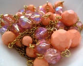 ONLY LOT - Vintage beaded chain - varied faceted pink beads - 5 feet