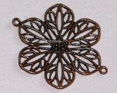 20 pcs of antique Copper  filigree flower links 22mm
