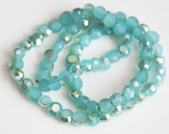 15.5 inch Strand of electoro plated glass faceted flat round beads 6mm Gold/Amazonite