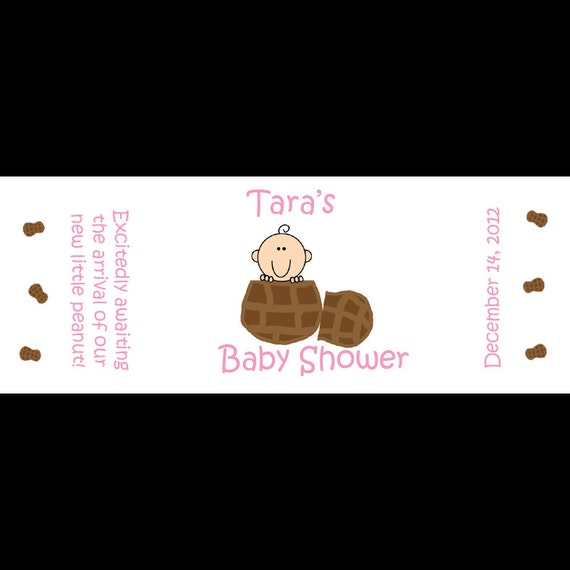 120 Personalized Baby Shower Mini Candy Bar Labels -  Pink Little Peanut