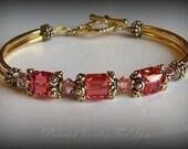 Wedding Bracelet - Antiqued Gold Pewter and  Padparadscha Swarovski Crystal Bangle Bracelet