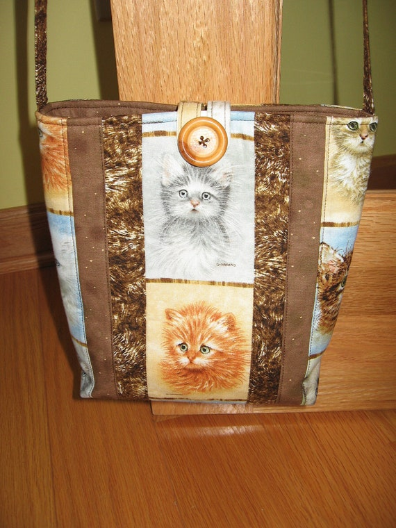"Aunt Roo's Cats Quilted Crossbody/Swing bag ""One-of-a-kind"""