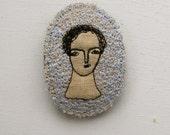 dreamer in pale blue - embroidery brooch - original miniature portrait