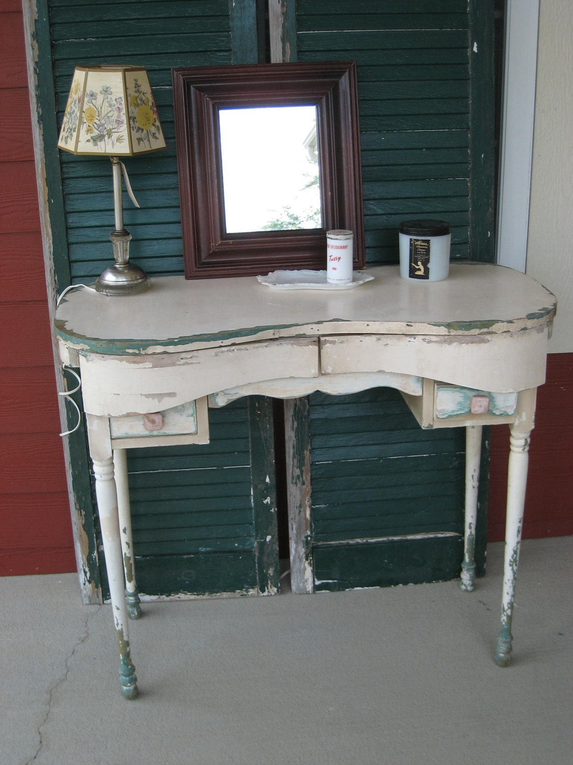 Vintage Dressing Table Kidney Shape Shabby Chic 3980 W