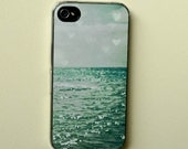 hipster iphone case . Sea of Happiness .aqua summer beach photography . coastal. dreamy . turquoise phone cover . heart . nautical sea ocean