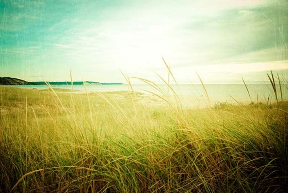summer beach photography . nature photography . fine art print . minimal landscape . cottage decor . large photograph . aqua green blue