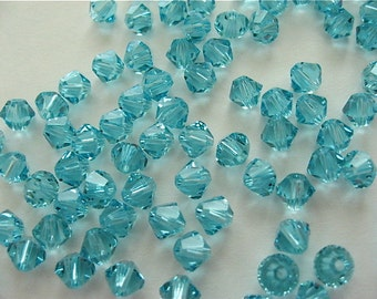 48 Light Turquoise Swarovski Crystal Beads Bicone 5328 4mm