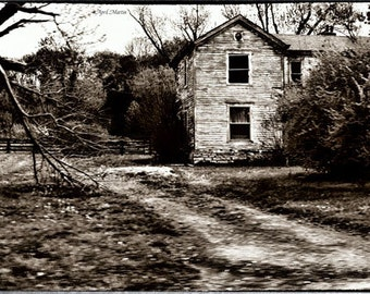 Abandoned Farm House Country Road Black and White 11x14 Photograph