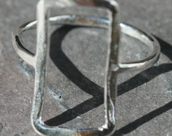 Upright Rectangle Ring US Size 6 Sterling Silver Hammered Shapes Ring Handcrafted Maggie McMane Designs