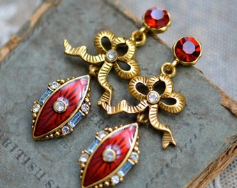 Edwardian Style Ruby and Gold Bow Rhinestone Earrings