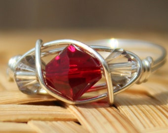 July Ruby Sterling Silver Birthstone Ring Sizes 4-11