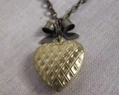 Heart Locket. Locket Necklace. Brass Locket. Ribbon Bow Simple Necklace. Simple Love Gift. Locket Necklace