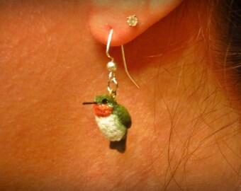 OOAK Handsculpted Hummingbird Earrings
