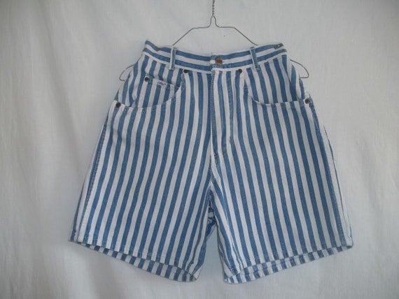 Vintage 1980s Chic Blue White Striped High Waisted Shorts
