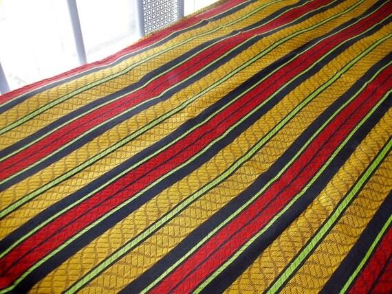 Vintage Mod Stripe Twin Bedspread 86 x 106 Groovy red yellow black stripes