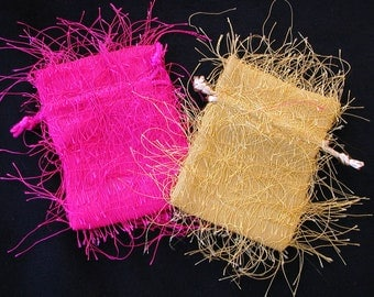 Fringey fabric gift bags for small items- supplies gift wrap