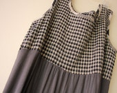 SALE 30% upcycled gray checkered sleeveless dress large